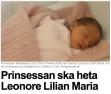 Prinsessa Madeleine tytön nimi Leonore Lilian Maria